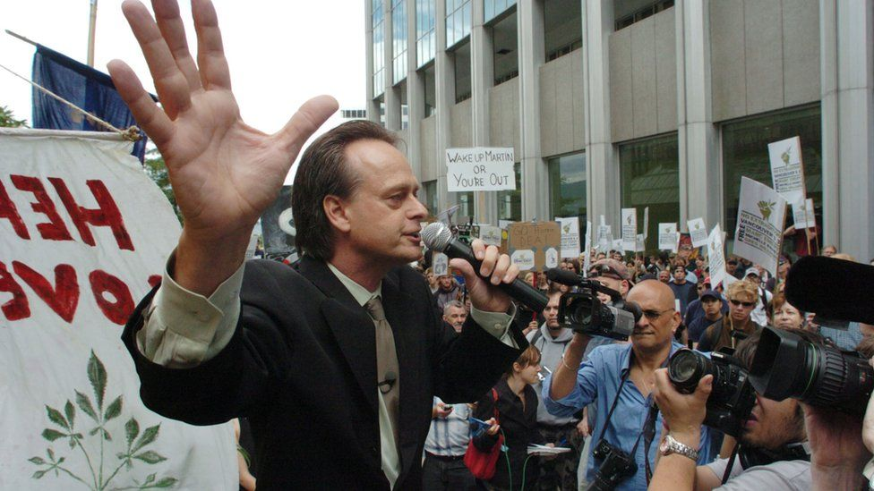 Marijuana advocate Marc Emery addresses a crowd of 400 at an anti-extradition rally held for him in front of the US Consulate on September 10, 2005 in Vancouver, Canada.