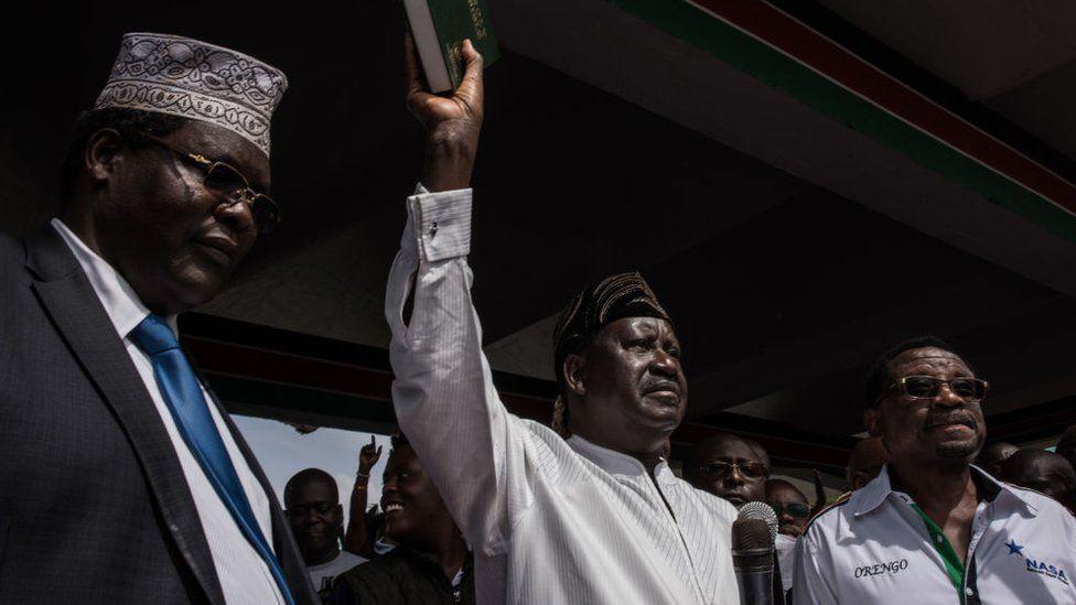 Raila Odinga taking oath