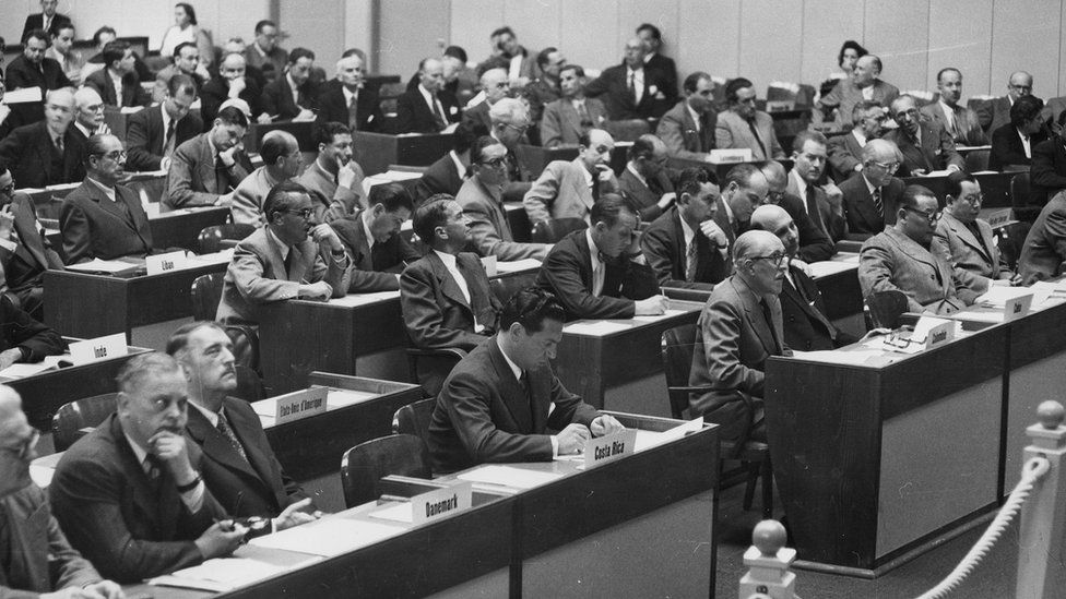 Delegates at the Geneva Convention conference