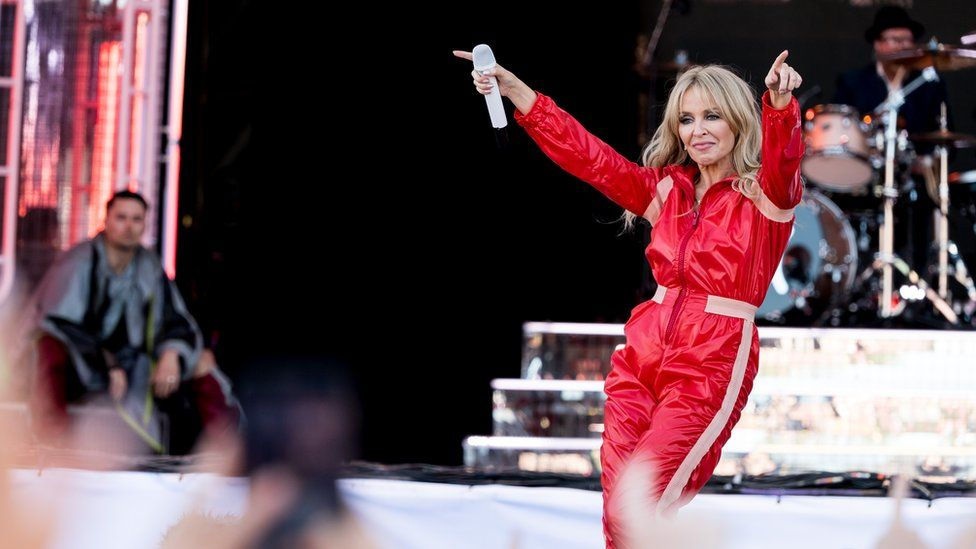 Kylie Minogue performing on the Pyramid stage