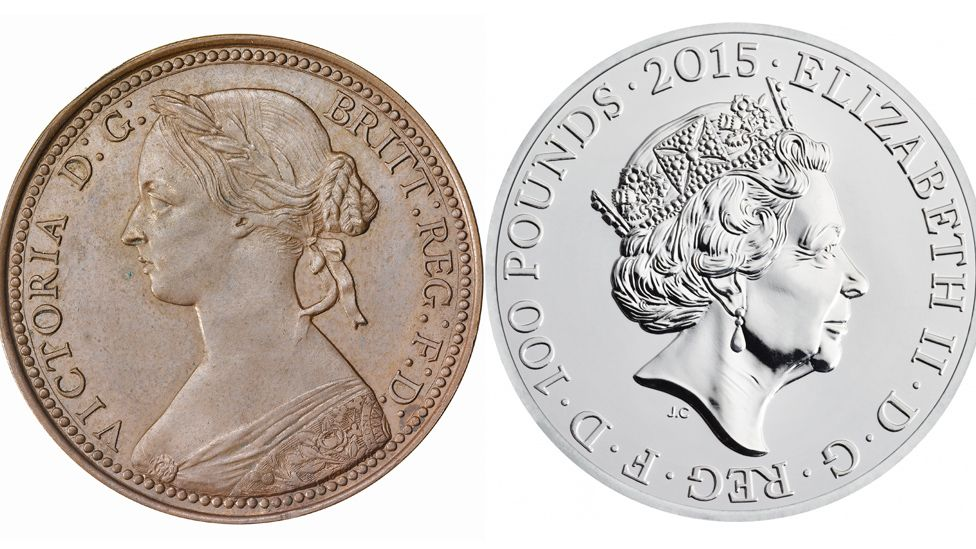 Coins from 1860 and 2015