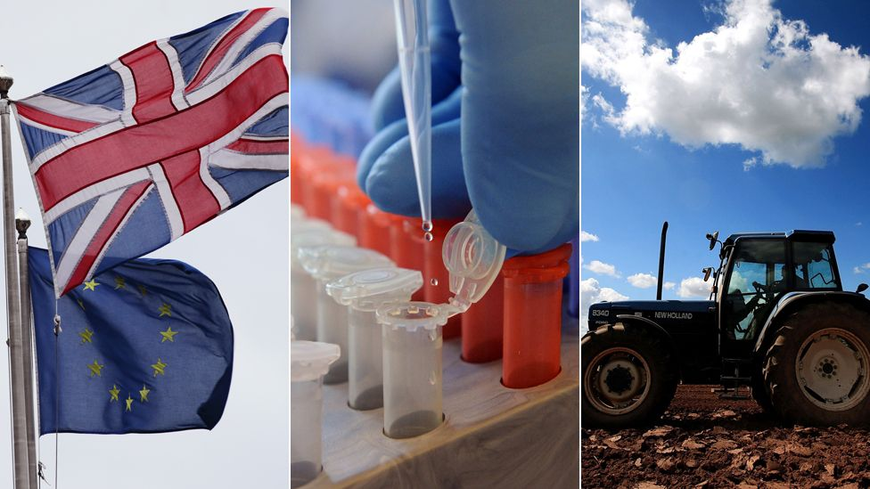 EU and UK flags, scientific work,. tractor