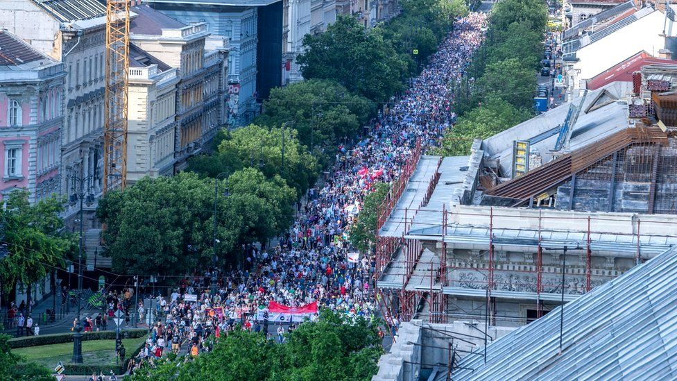 A protest against the Hungarian government's plan to build a campus for China's Fudan University in Budapest, Hungary