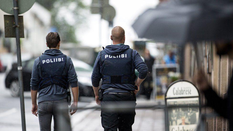 Finnish police following the 2017 terror attack in Turku
