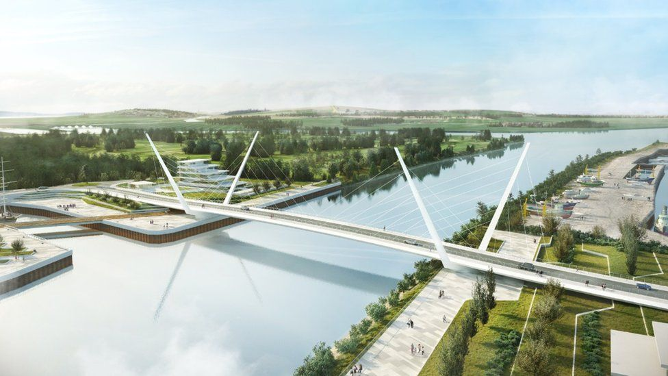 And artists' impression of the 184m bridge over the Clyde