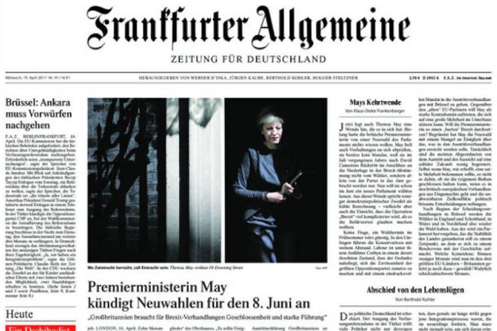 Front page of Germany's Frankfurter Allgemeine