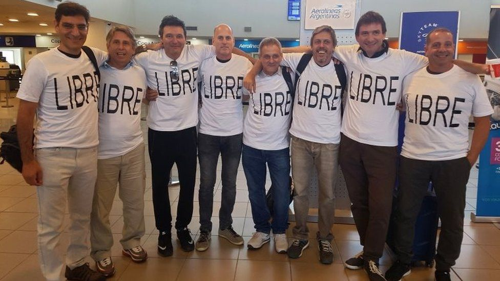 From L to R: Hernan Ferrucci, Alejandro Pagnucco, Ariel Erlij, Ivan Brajkovic, Juan Trevisan, Hernan Mendoza, Diego Angelini and Ariel Benvenuto at airport in Rosario moments before travelling to New York on 28 October 2017