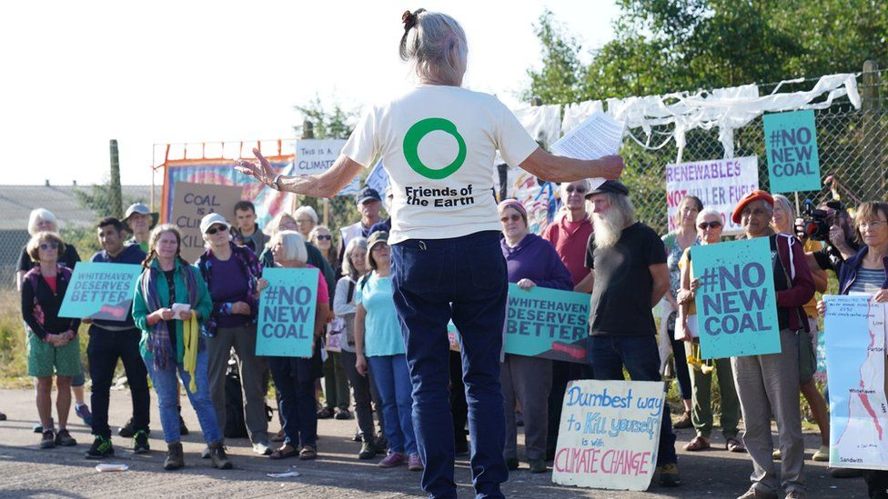 Protest outside the planned site