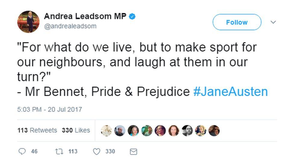 Andrea Leadsom tweets Jane Austen quotes