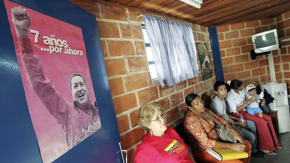 Patients wait to see Cuban doctors in a clinic in Caracas