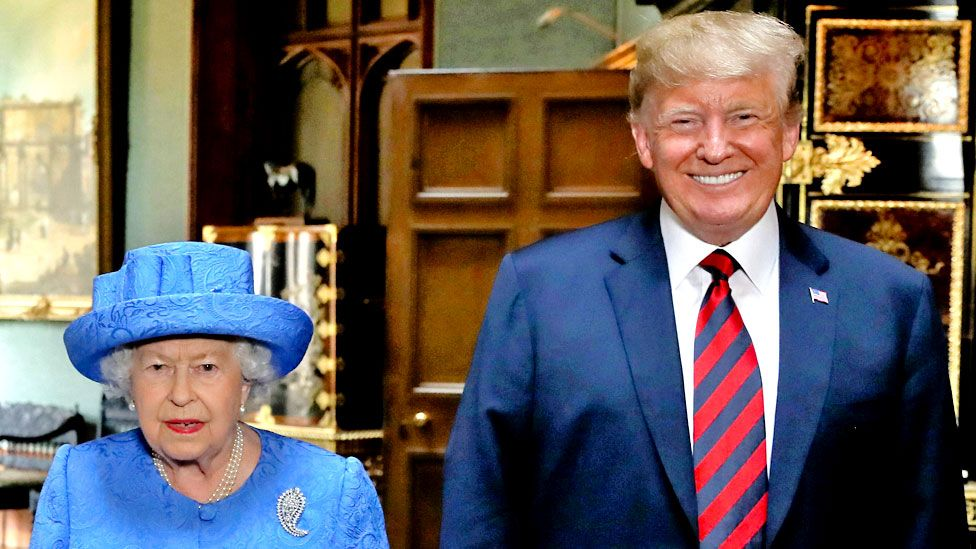 The Queen with Donald Trump at Windsor on 13 July 2018