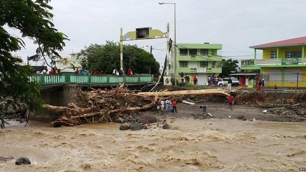 Storm damage is seen near a bridge in Roseau, Dominica