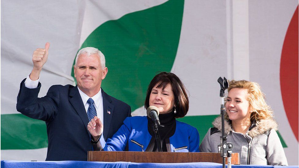 Vice-President Mike Pence, his wife, Karen, and their daughter Charlotte, greet participants gathered for the 44th Annual March For Life