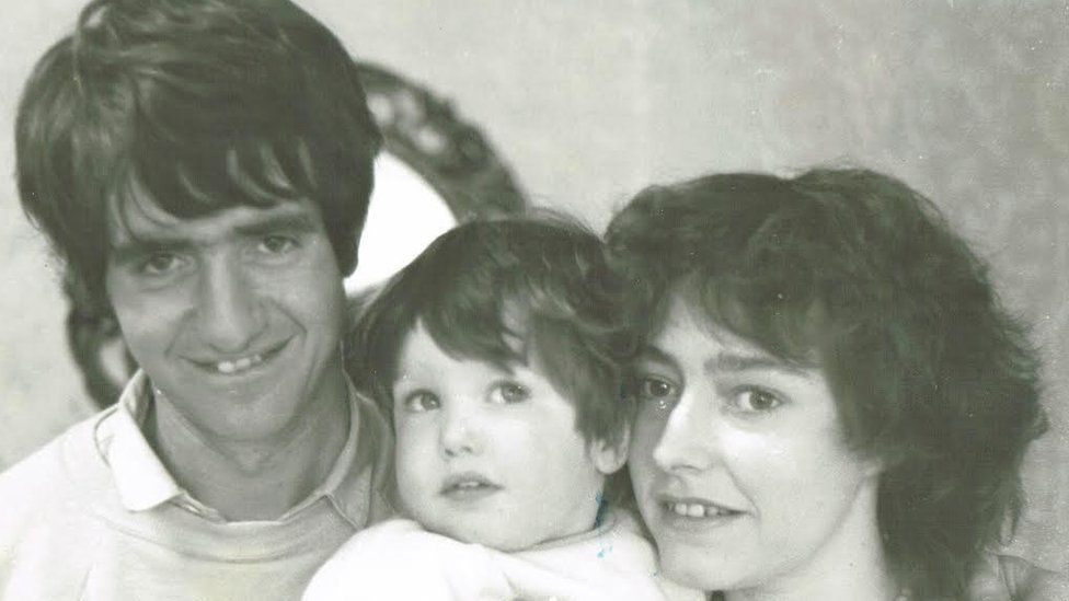 Jonathan Spollen aged two with mother Lynda (right) and father David (left)