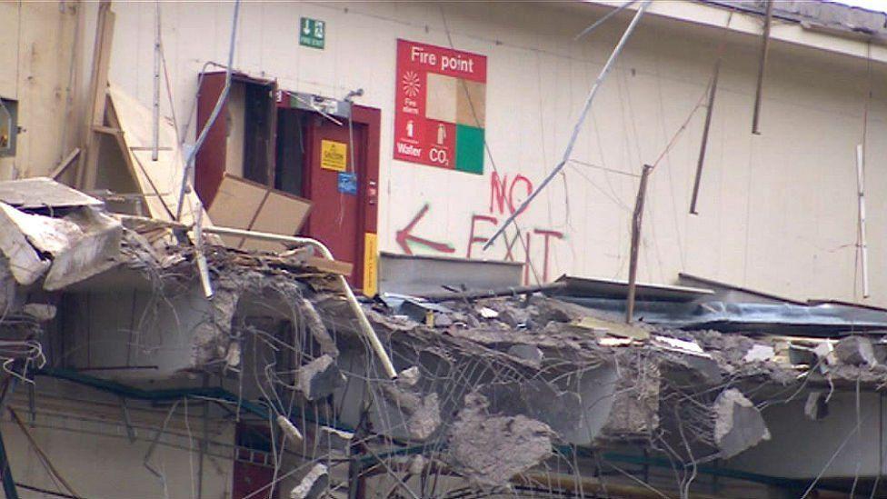 Inside the demolished building