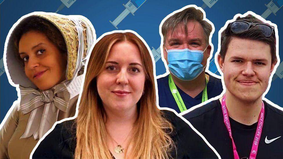 Composite image of vaccinators