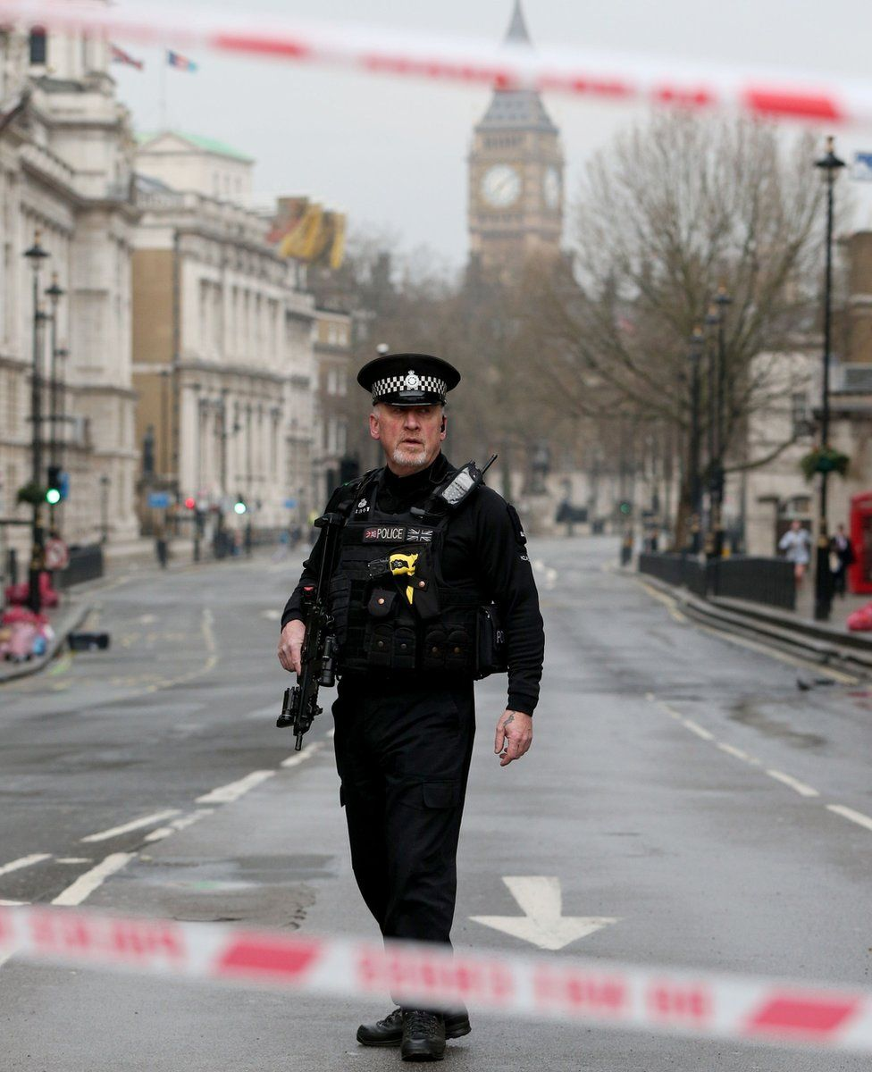 Police activity on Whitehall in London