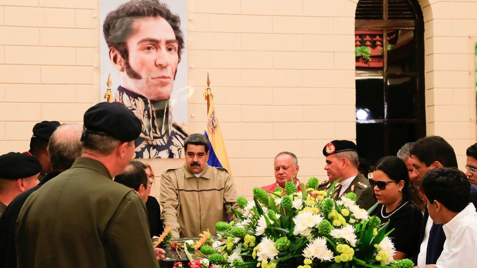 Venezuela's President Nicolas Maduro during a military ceremony to commemorate the sixth anniversary of the death of President Hugo Chavez in Caracas