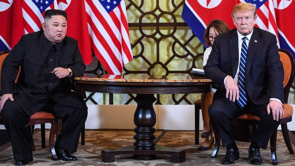 US President Donald Trump (R) holds a meeting with North Korea's leader Kim Jong Un during the second US-North Korea summit at the Sofitel Legend Metropole hotel in Hanoi on 28 February, 2019