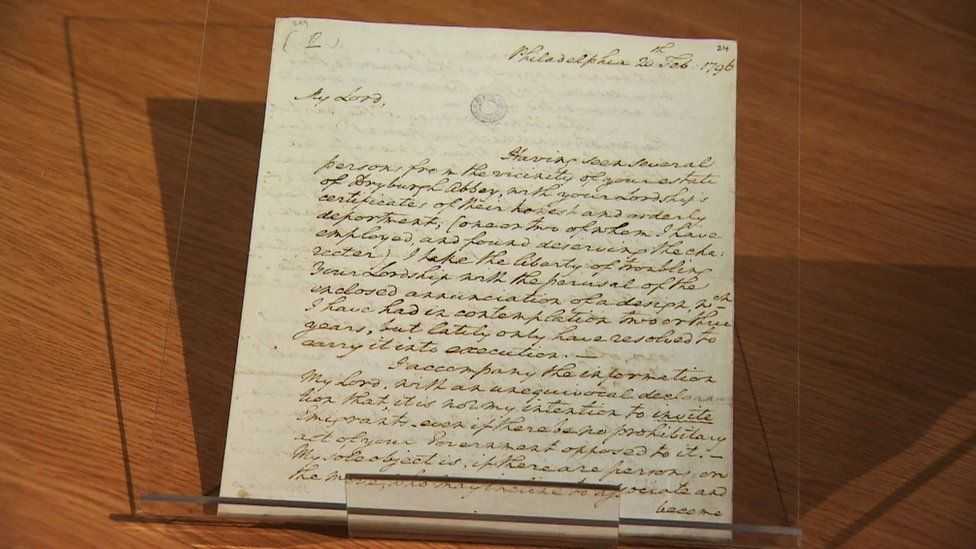 The letter was written while Washington was still president in 1796
