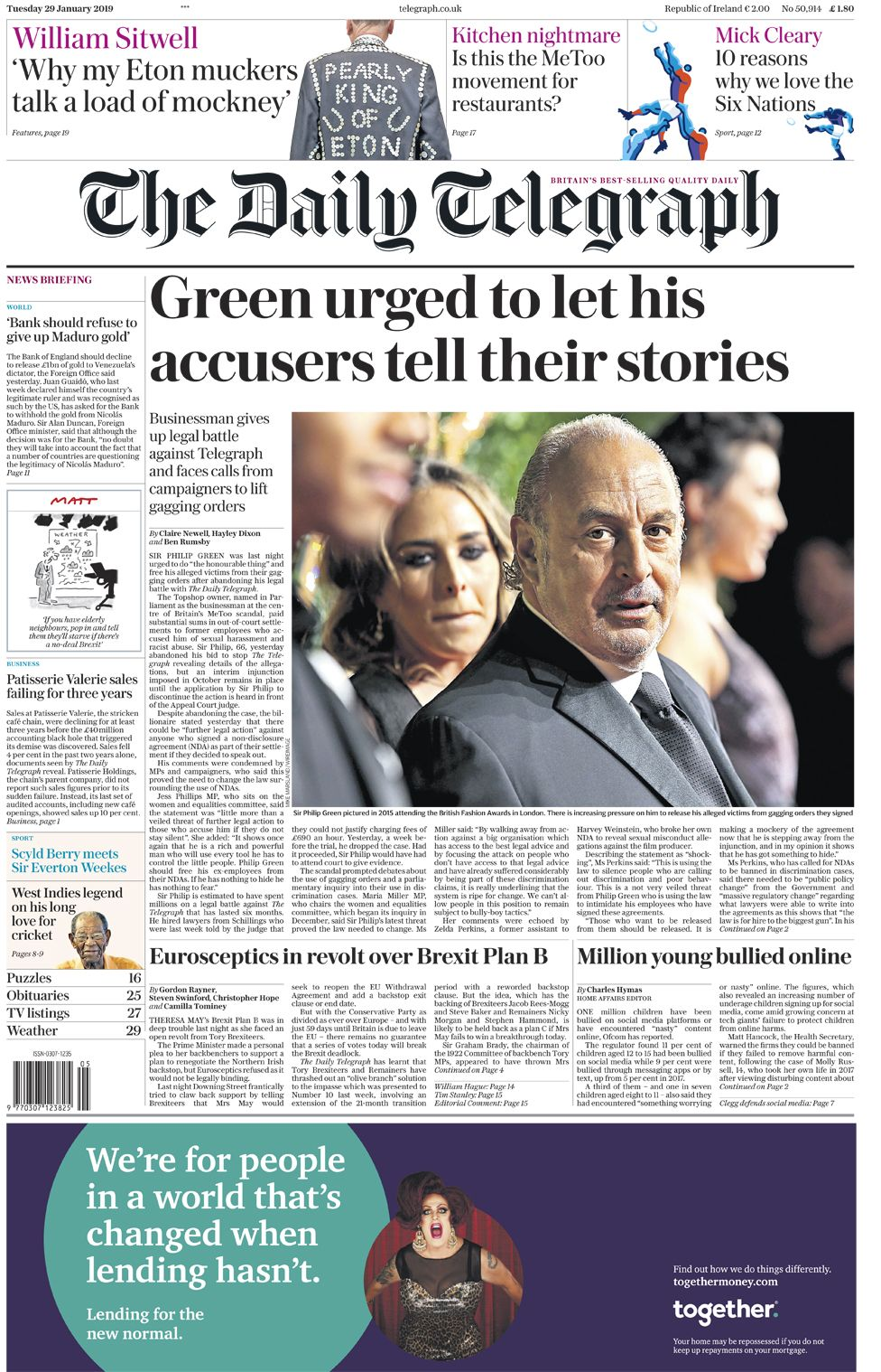 Daily Telegraph front page - 29/01/19