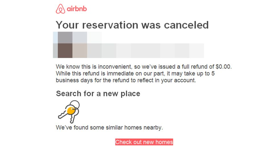 "A screenshot of an AirBnB email tells the user the booking has been cancelled, with a highlighted link to ""check out new homes"""