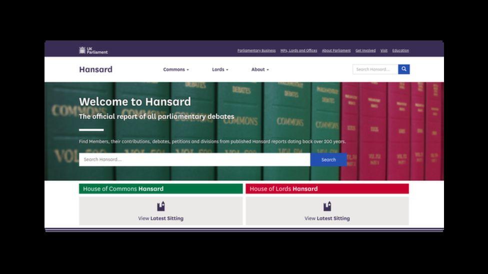 UK Parliament Hansard website