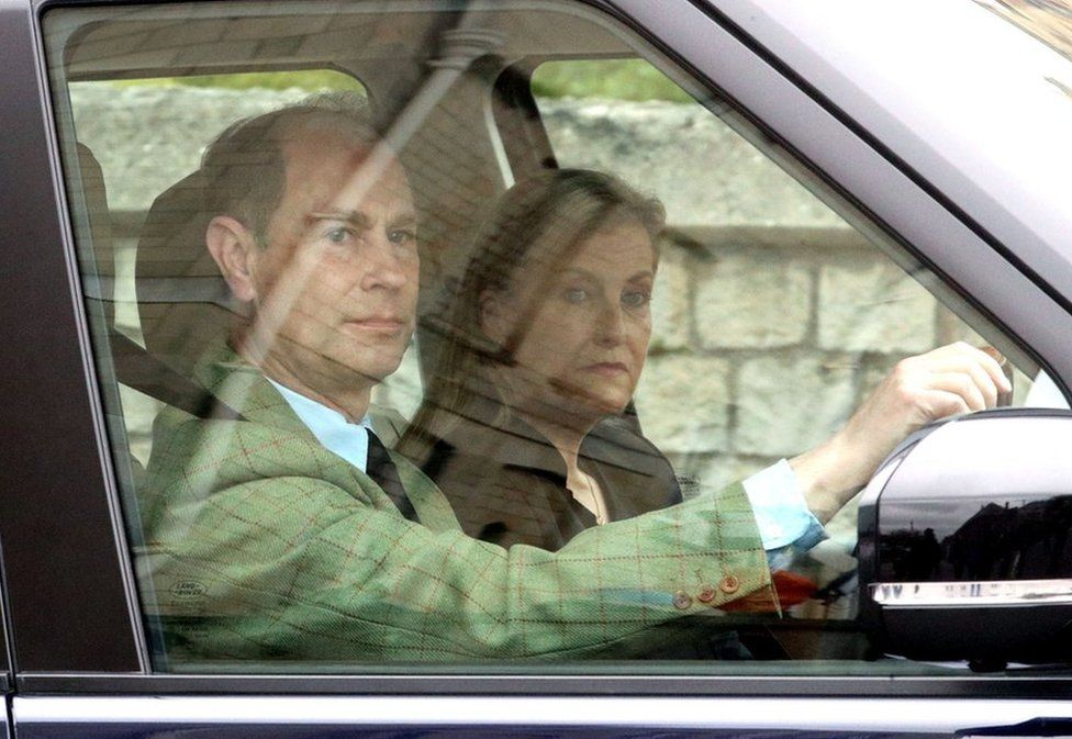 The Earl and Countess of Wessex arrive at Windsor Castle, Berkshire, following the announcement on Friday April 9, of the death of the Duke of Edinburgh at the age of 99.