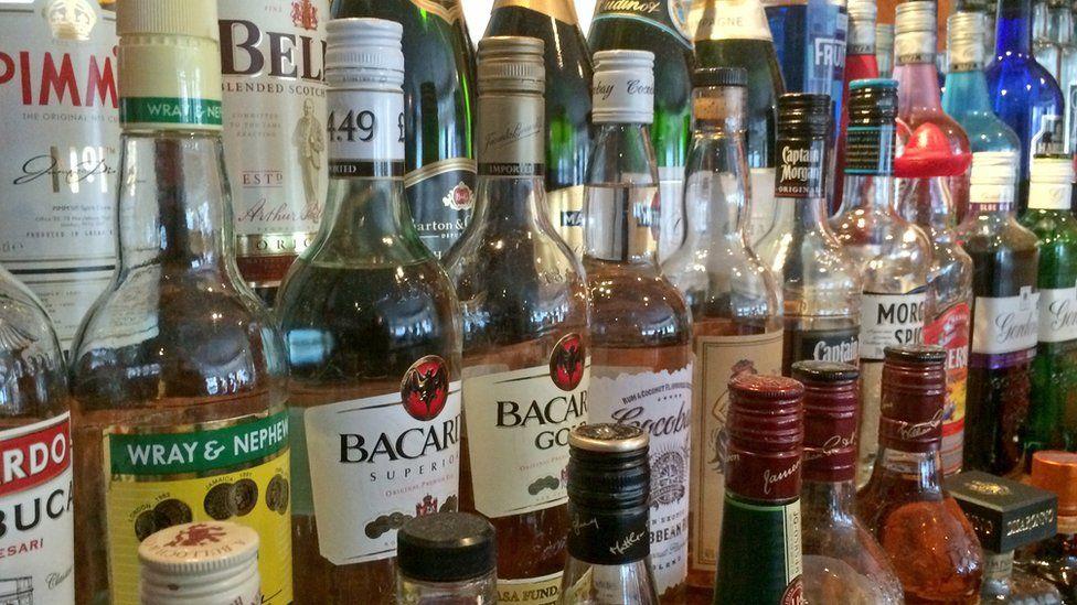 Bottles of spirits in a bar
