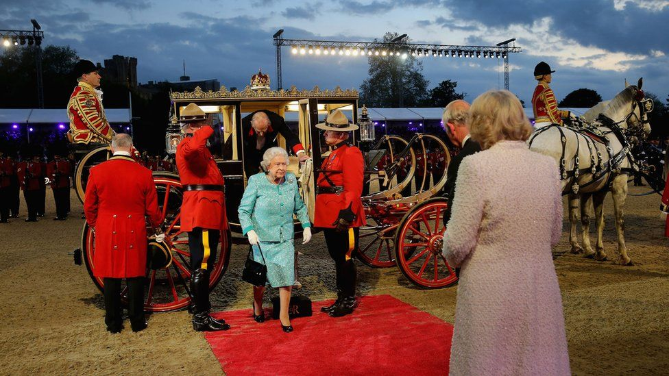 The Queen arriving at a show held for her 90th birthday at Windsor Castle