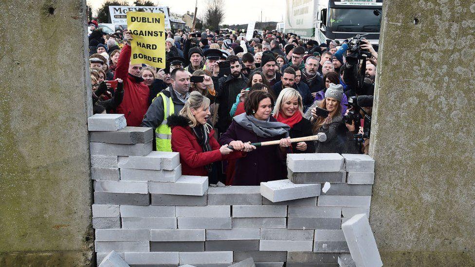 Sinn Fein politicians at a demonstration against hard border