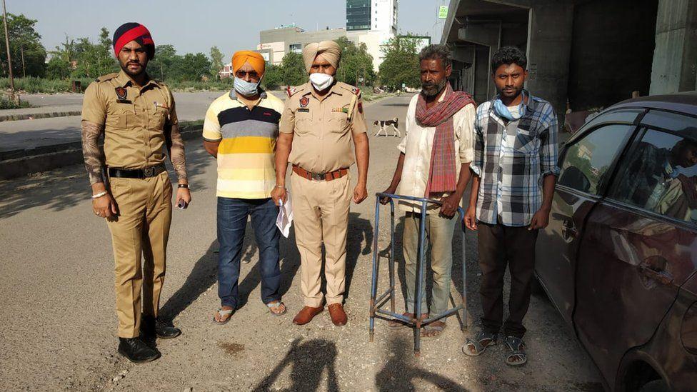 R Venkateshwarlu (second from right) with police and others in Ludhiana