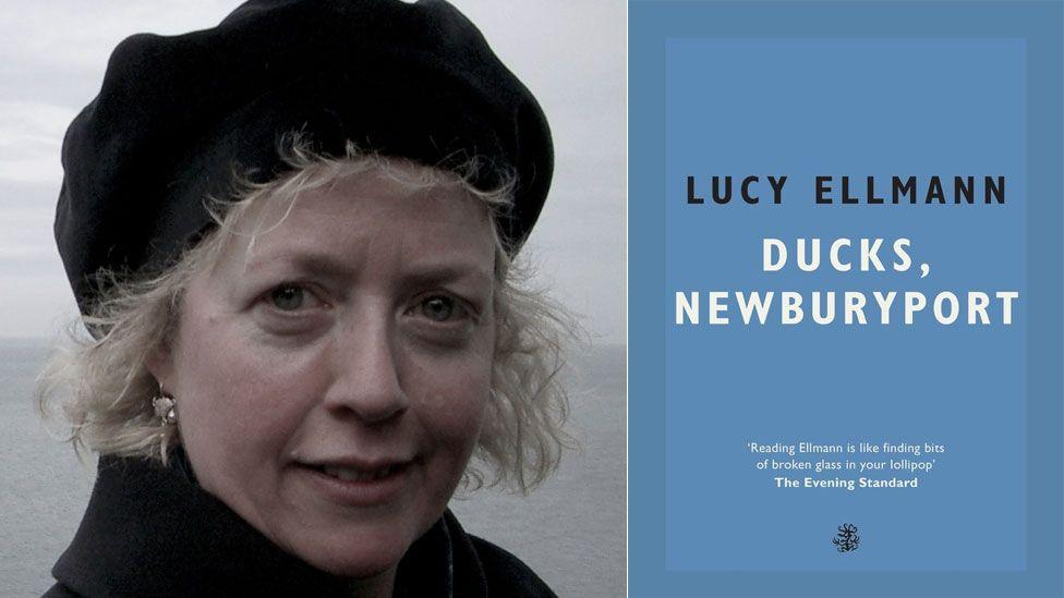 Lucy Ellmann and the book jacket for Ducks, Newburyport