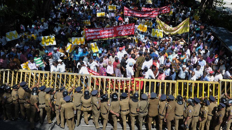 Protests over proposed sale of Sri Lanka's Hambantota port to China, January 2017