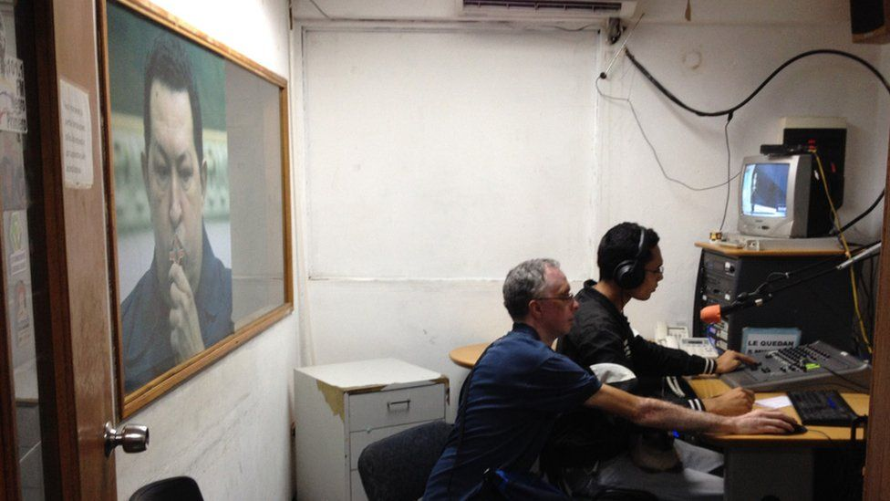 A view of one of the studios at community station Radio Libre Negro Primero
