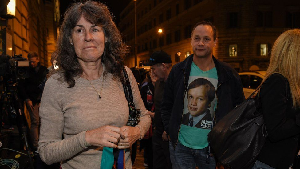 Chrissie Foster (L), whose two daughters were sexually abused by a Catholic priest, arrive at the Quirinale hotel in Rome on March 2, 2016
