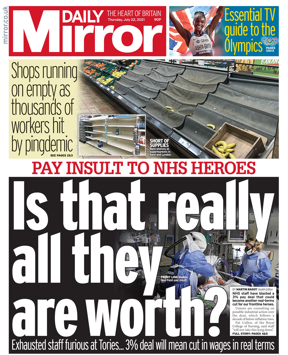 Daily Mirror front page 22/07/21