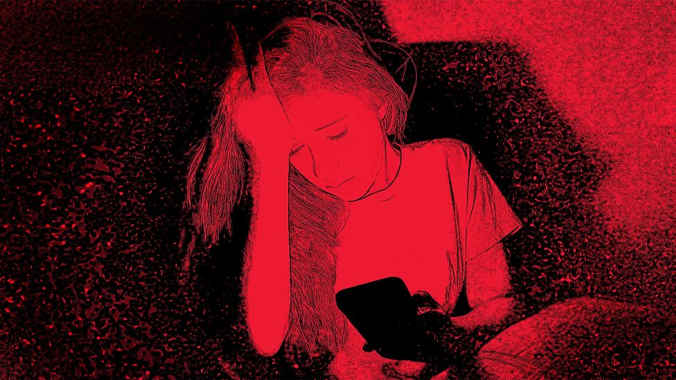 Illustration of sad girl looking at her mobile phone