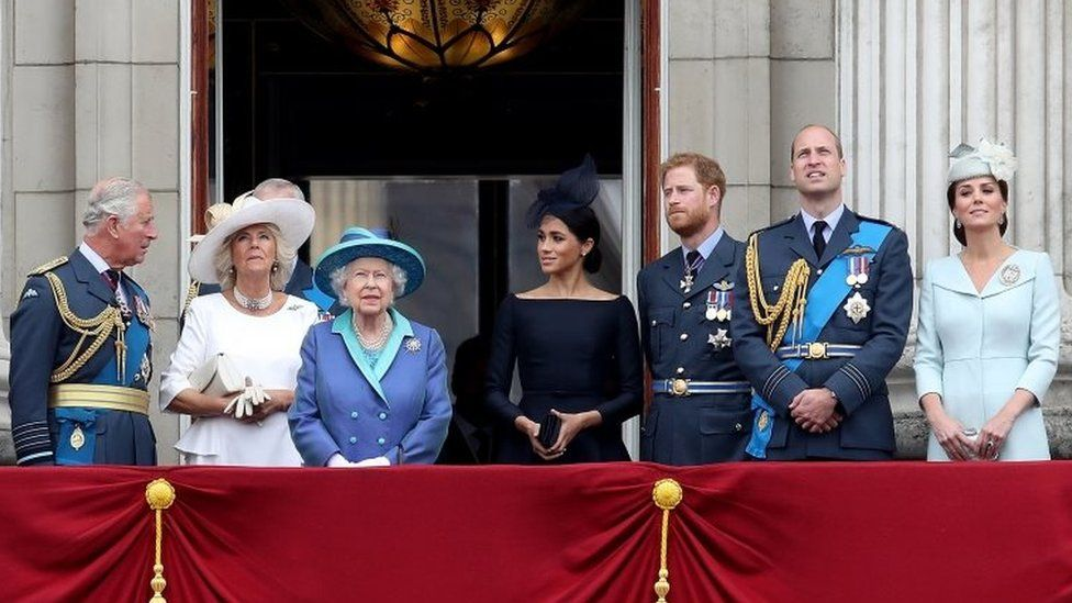 (L-R): The Prince of Wales, the Duchess of Cornwall, the Queen, the Duchess of Sussex, the Duke of Sussex, the Duke of Cambridge and the Duchess of Cambridge
