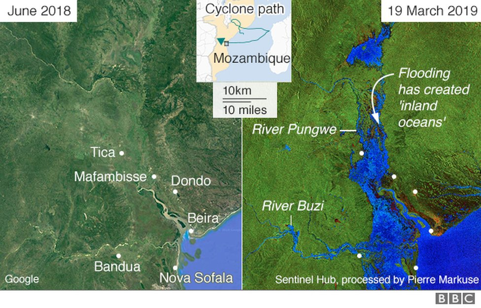 A map showing areas of Mozambique before and after they were flooded