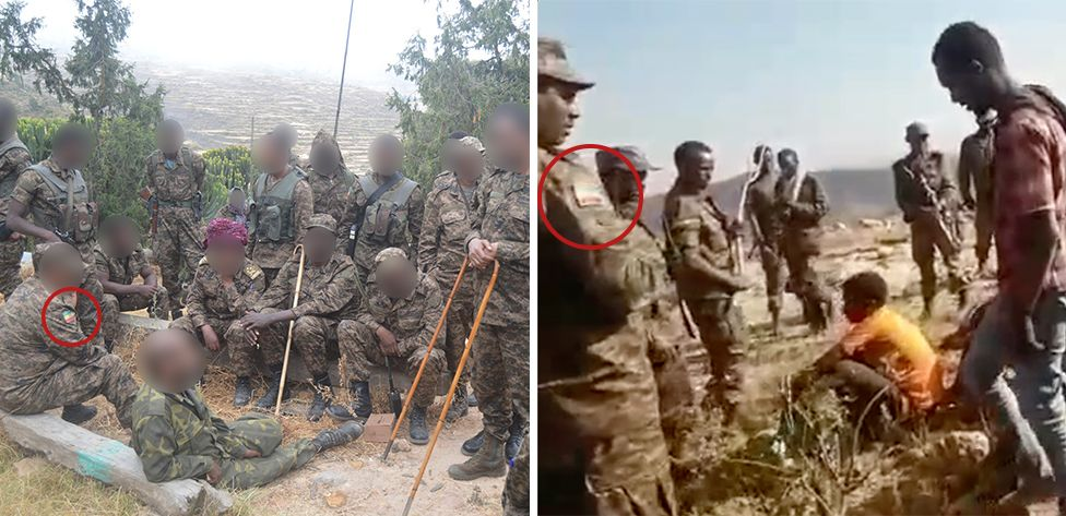 Badges in the colour of the Ethiopian flag seen on the armed men in the footage (right) matches those worn by ENDF soldiers (left). The camouflage patterns are also a match