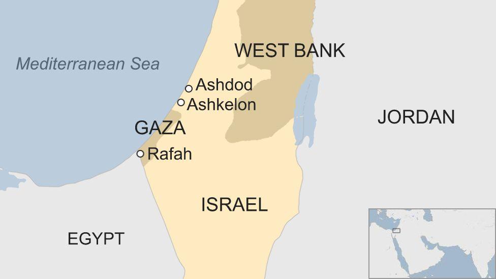 Map of Gaza and Israel