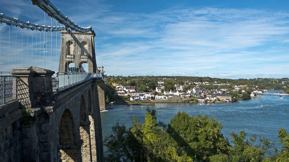 Menai Bridge leading over to Anglesey