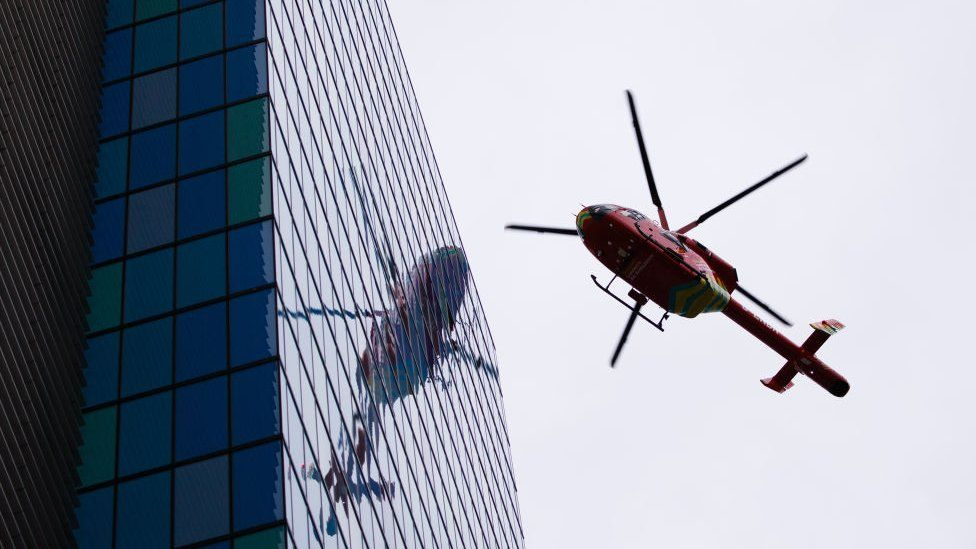 Helicopter landing at a London hospital