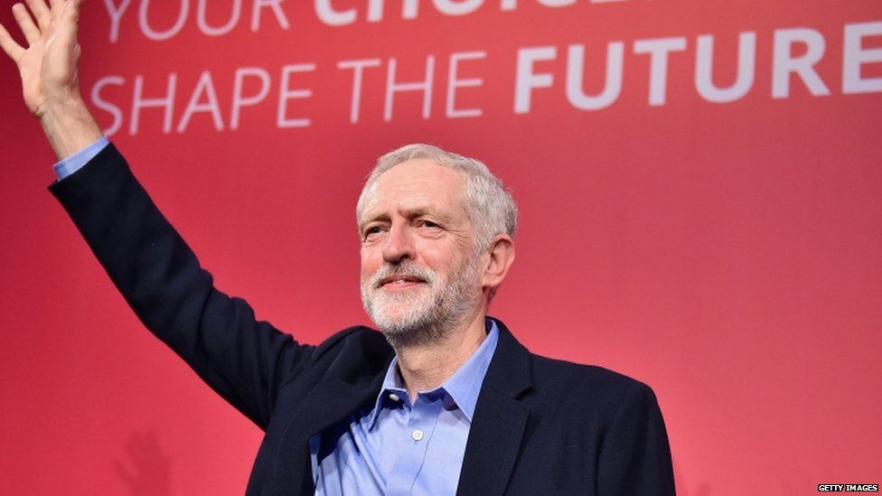 Jeremy Corbyn shortly after winning the Labour leadership election
