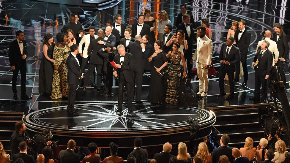The scene at the 2017 Academy Awards after the wrong best picture winner was read out