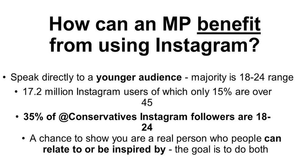 "Slide: ""How can an MP benefit from using Instagram?"""
