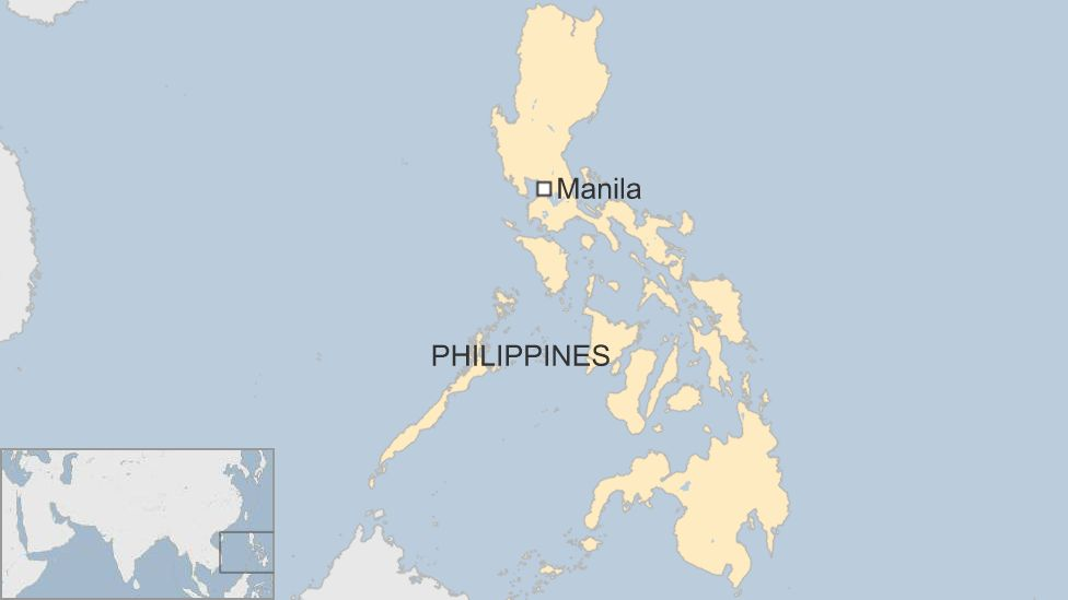 A map showing Manila in the Philippines