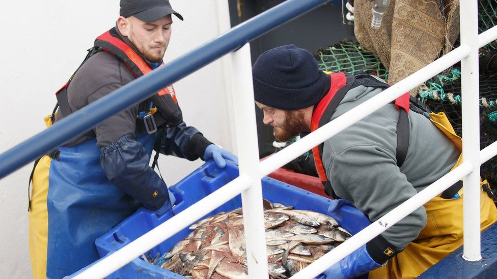 Fishermen on board a boat in a Yorkshire harbour