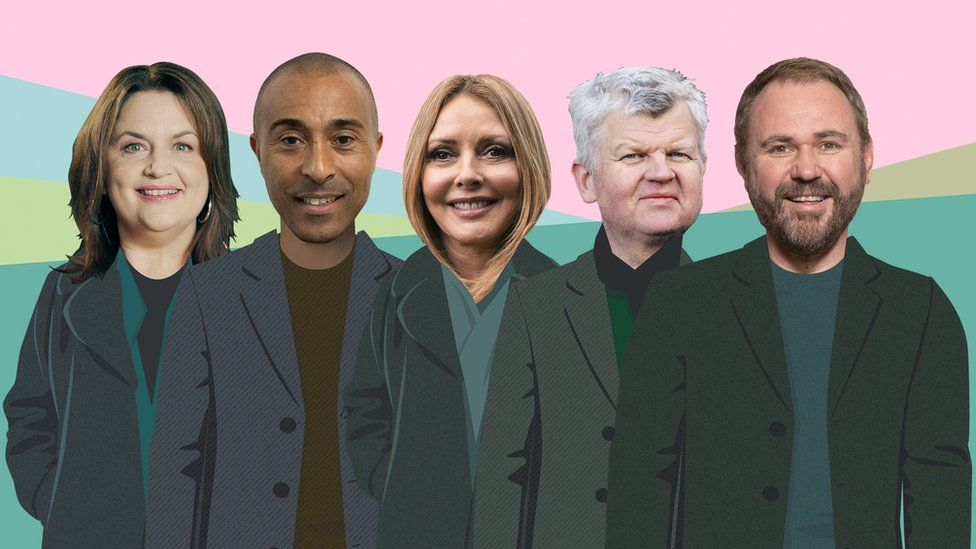 Ruth Jones, Colin Jackson, Carol Vorderman, Adrian Chiles, Scott Qionnell